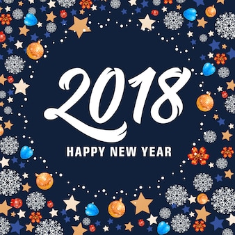 Happy new year 2018 lettering and balls