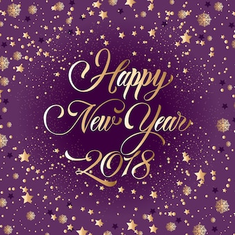 Happy New Year 2018 Lettering, Gold Stars