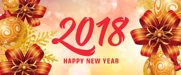 Happy new year 2018 lettering with bows