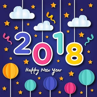 Happy New Year 2018 Paper Art Greeting Card Illustration