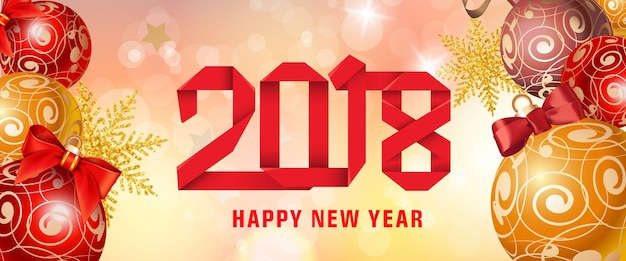 Happy new year 2018 paper lettering