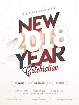 Happy new year 2018 party poster, banner or flyer design.