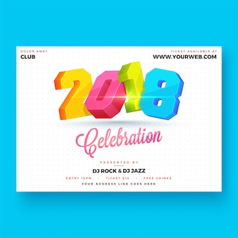 Happy new year 2018 party poster design.