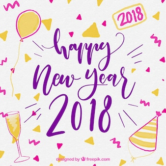 Happy new year 2018 party watercolour background