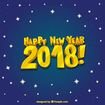 Happy new year 2018 on a starry sky