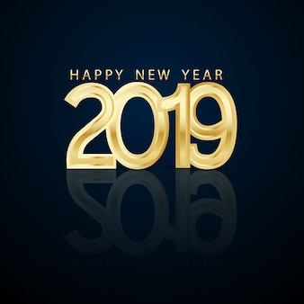 Happy new year 2019 3d font design on a gold background.