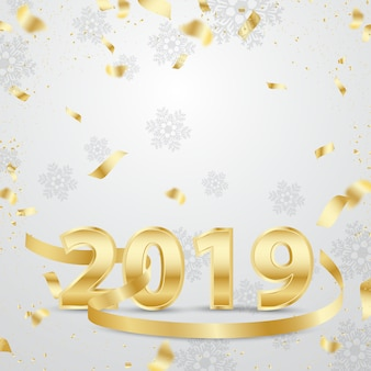 Happy new year 2019 3d golden design with ribbon
