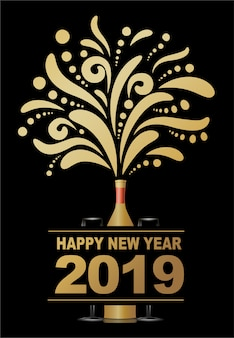 Happy new year 2019, abstract champagne design.