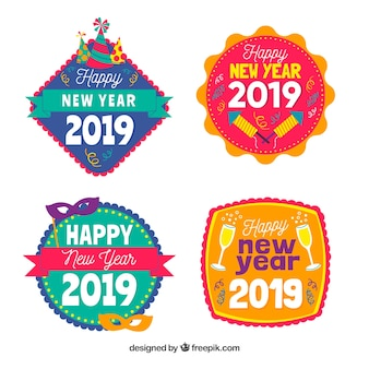 Happy new year 2019 badges collection