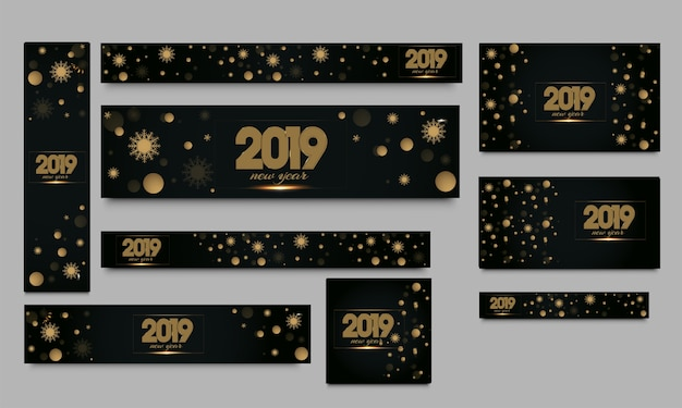 Happy new year 2019 banner.