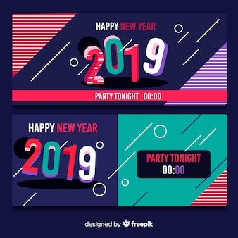Happy new year 2019 banner