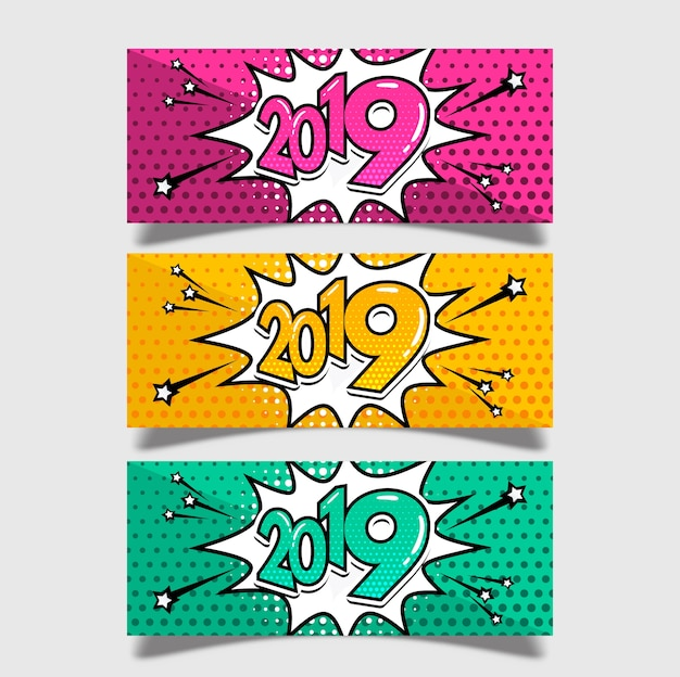 Happy new year 2019 banners in comic style