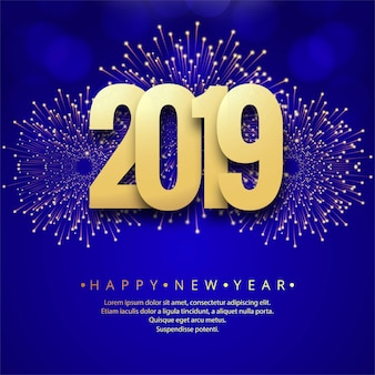 Happy New Year 2019 card celebration colorful background