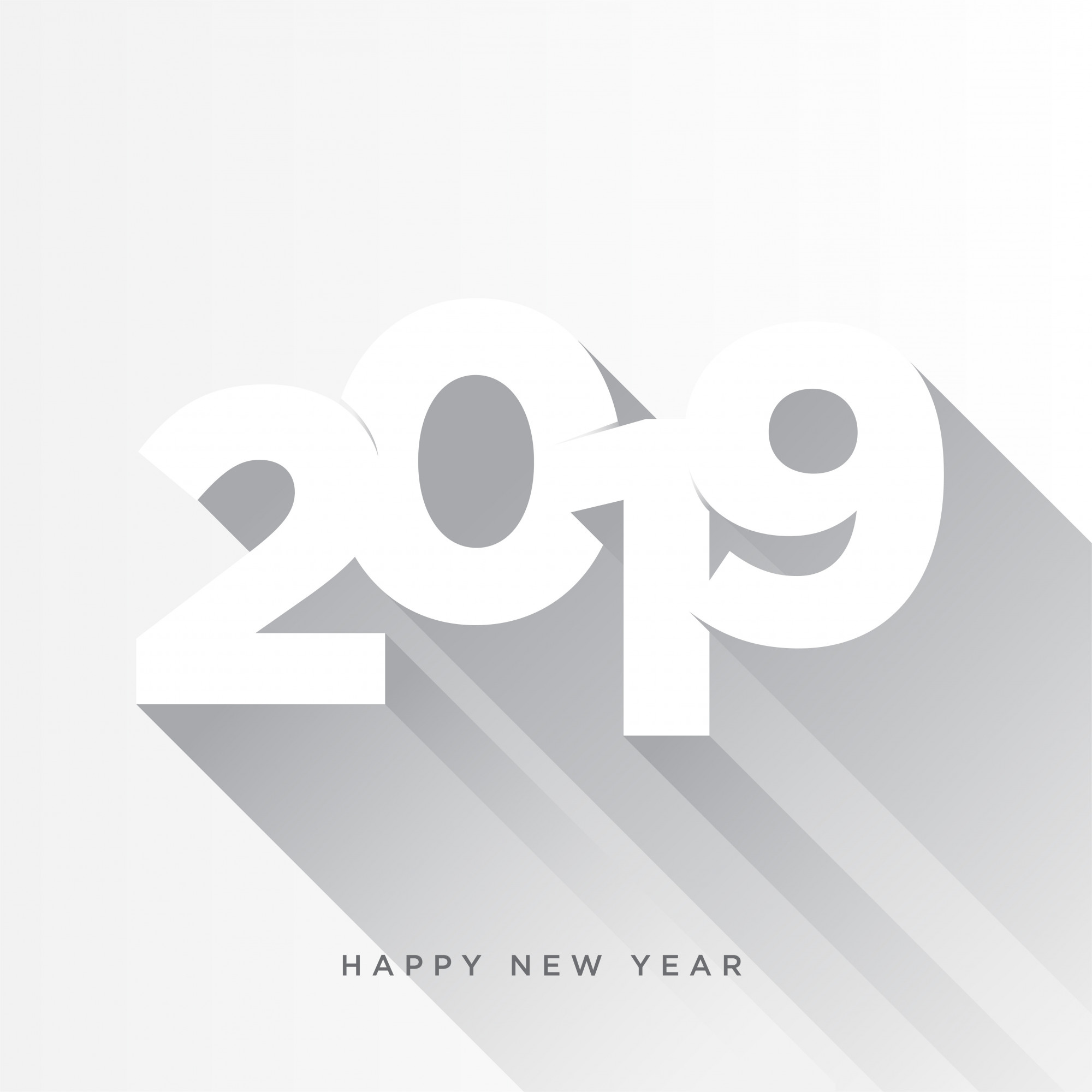 Happy New Year 2019 card theme. gray long shadow on white background