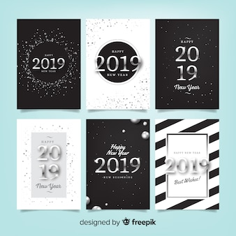 Happy new year 2019 cards set
