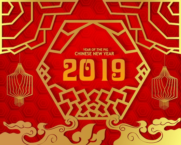 Happy new year 2019. chinese new year, year of the pig.