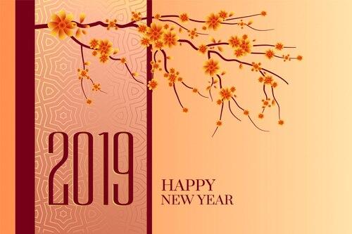 Happy new year 2019 chinese tree background