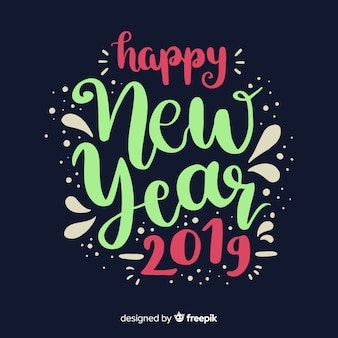 Happy new year 2019 colorful background with fancy lettering