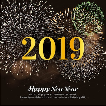 Happy new year 2019 colorful firework decorative background