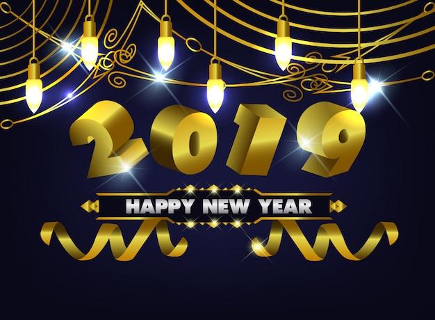 Happy new year 2019 dark and light gold