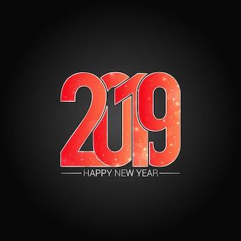 Happy new year 2019 design with dark background