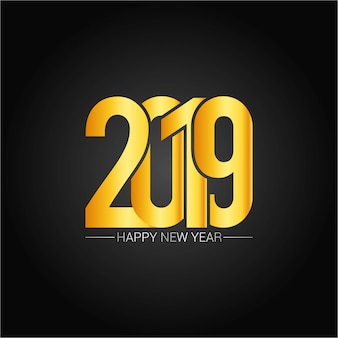 Happy new year 2019 design with dark background