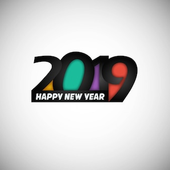 Happy new year 2019 design with white background