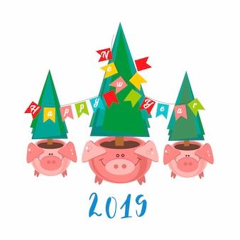 Happy new year. 2019. funny pig pots with christmas trees.