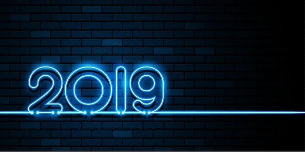 Happy new year 2019. glow neon light on the dark wall. greetings card.