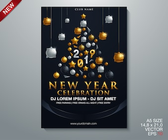 Happy new year 2019 gold and black collors