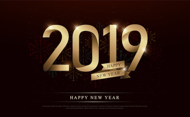 Happy new year 2019 gold number and golden ribbons