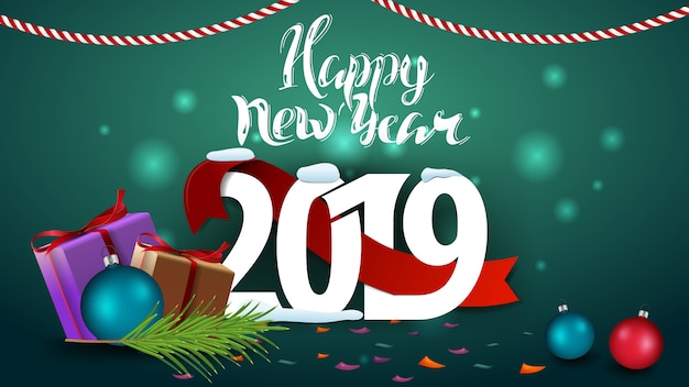 Happy new year 2019 - green new year greeting card with gifts