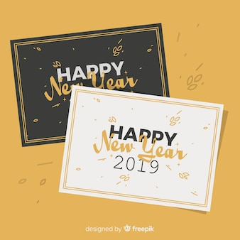 Happy new year 2019 greeting cards