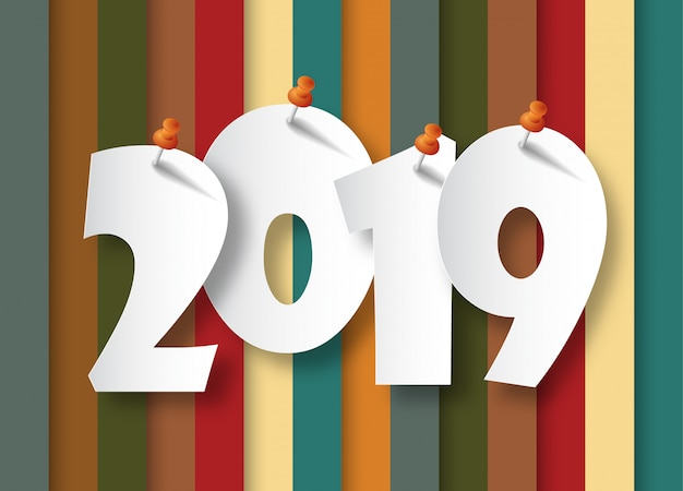 Happy new year 2019. greetings card.