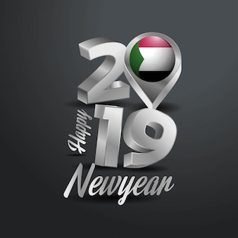 Happy new year 2019 grey typography
