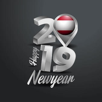 Happy new year 2019 gray typography