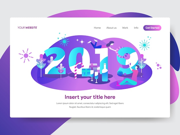 Happy new year 2019 illustration for homepage