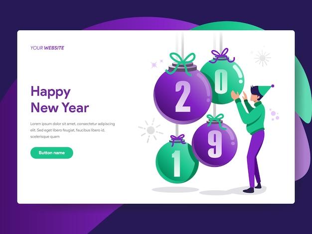 Happy new year 2019 illustration
