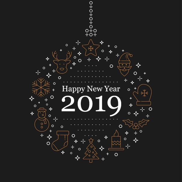 Happy new year 2019 lettering design and decoration.
