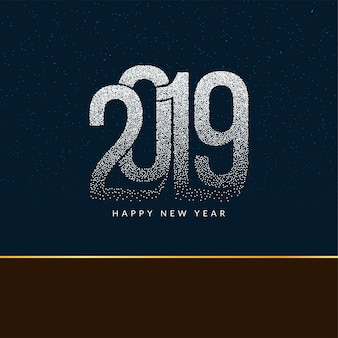 Happy new year 2019 modern dotted text background