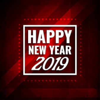 Happy New Year 2019 modern red background