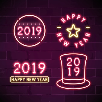 Happy new year 2019 neon sign set