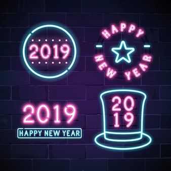 Happy new year 2019 neon sign vector set