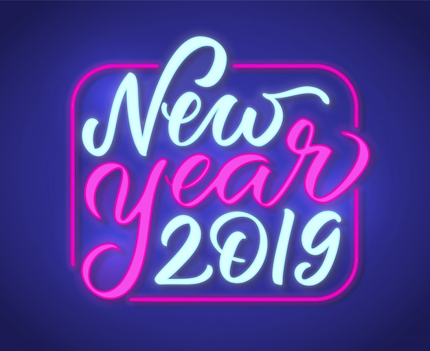 Happy new year 2019 neon text sign design
