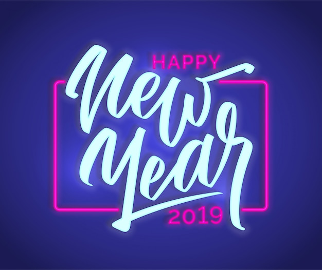 Happy new year 2019 neon text sign