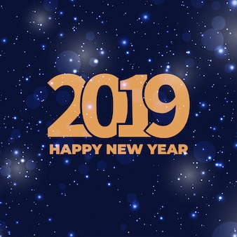 Happy new year 2019 - new year background with abstract bokeh