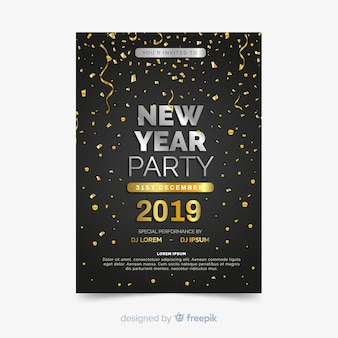 Happy new year 2019 party flyer