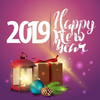 Happy New Year 2019 - pink New Year greeting card with gifts and antique lamp