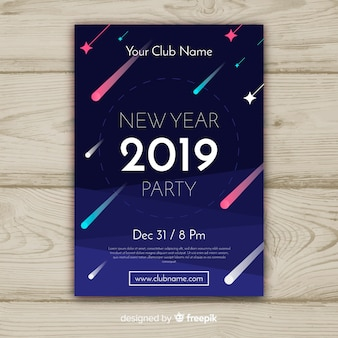 Happy new year 2019 poster with comets