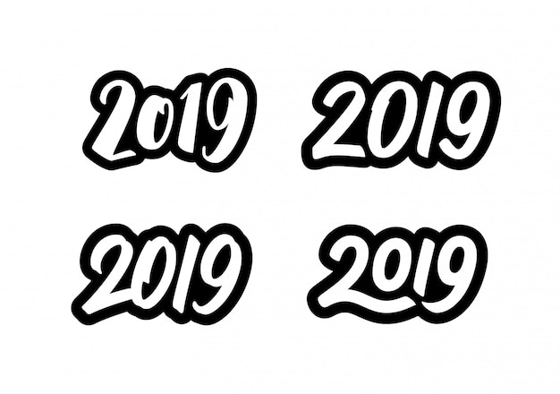 Happy new year 2019 stickers set with calligraphy numbers